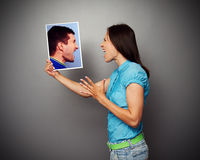 Couple in quarrel over dark background Stock Image