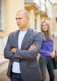 Couple after quarrel at street Stock Images