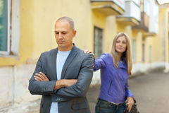 Couple after quarrel at  street Royalty Free Stock Images