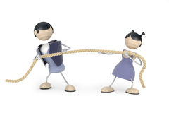 Couple quarrel, tug-of-war Royalty Free Stock Images