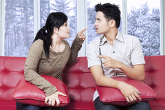 Couple quarreling in winter day Royalty Free Stock Photo