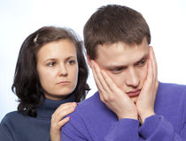 Couple quarreling Stock Images