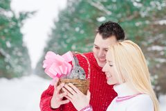 couple with rabbit outdoor Stock Image