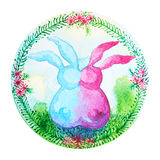Couple rabbits chinese new year flower wreath celebration watercolor painting Stock Photography