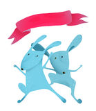 Couple rabbits jumping kids cartoon with ribbon Stock Images