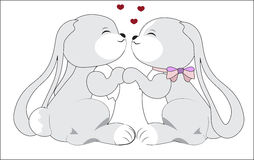 Couple of rabbits in love Royalty Free Stock Photos