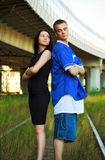 Couple on rails Royalty Free Stock Photo
