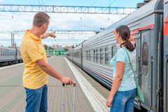 Couple at the railway station Stock Image