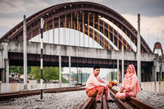 Couple on railway track Royalty Free Stock Image