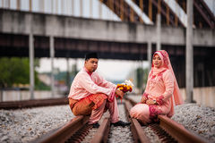 Couple on railway track Stock Photos