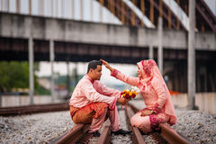 Couple on railway track Stock Photography