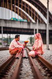 Couple on railway track Royalty Free Stock Photography