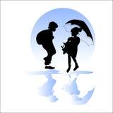 Couple in the rain. stock illustration