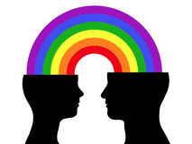Couple rainbow communication Stock Photography