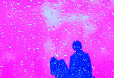 Couple in rainy day. Stock Images