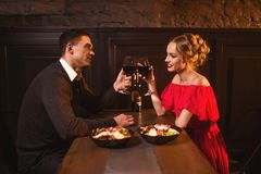 Couple raised glasses, anniversary celebration Royalty Free Stock Images