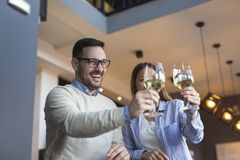 Couple raising glasses and making a toast royalty free stock photos