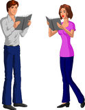 Couple Reading Stock Illustration