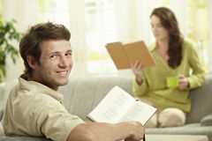 Couple reading book Royalty Free Stock Image