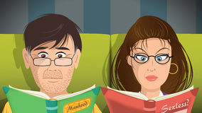Couple reading books. Cartoon  illustration of a couple reading books Stock Image