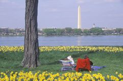Couple reading in Lady Bird Park, the Potomac River, Washington, D.C. Royalty Free Stock Photo