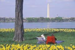 Couple reading in Lady Bird Park, the Potomac River, Washington, D.C. Royalty Free Stock Photo