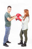 Couple ready for fight Royalty Free Stock Photography