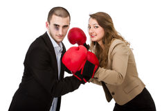 Couple ready for fight Royalty Free Stock Image