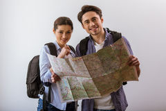 Couple ready to travel Stock Image