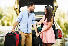 Couple Ready to Travel Stock Images