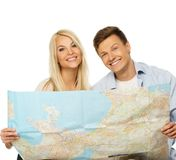 Couple ready to travel Royalty Free Stock Image