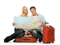 Couple ready to travel Royalty Free Stock Photography
