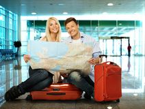 Couple ready to travel Royalty Free Stock Photo