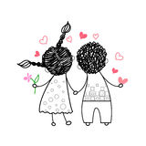 Couple Rear View Love Holding Hands Drawing Royalty Free Stock Photos
