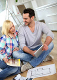 Couple recently moved in new house Stock Image