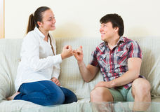 Couple reconciled after a quarrel Royalty Free Stock Photo