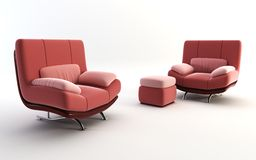 Couple red armchairs Royalty Free Stock Images