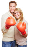 Couple with red boxing gloves Stock Photography