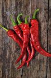 A couple of Red chili peppers. Closeup of red Hot chili pepper pod on a wooden desk Royalty Free Stock Images
