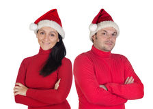 Couple with red clothing in Christmas Royalty Free Stock Photo
