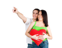 Couple with a red heart Royalty Free Stock Photography