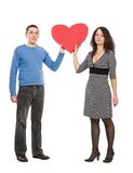 Couple with red heart Royalty Free Stock Images