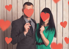 Couple with red heart Royalty Free Stock Photography