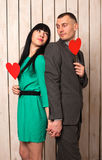 Couple with red heart Stock Image