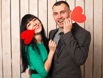 Couple with red heart Stock Photos