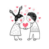 Couple Red Heart Shape Love Holding Hands Drawing Simple Line Royalty Free Stock Photography