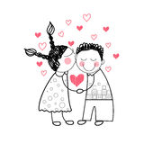 Couple Red Heart Shape Love Holding Hands Drawing Simple Line Royalty Free Stock Images