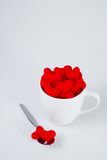 Couple of Red Heart slip away from Coffee Cup Stock Photography