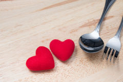 Couple Red Heart with Spoon and Fork on Wooden Table Royalty Free Stock Image