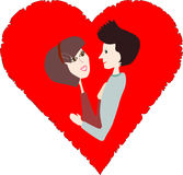 Couple in a red heart Stock Photo